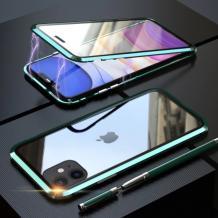 Магнитен калъф Bumper Case 360° FULL за Apple iPhone 11 Pro Max 6.5'' - прозрачен / зелена рамка