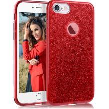 Силиконов калъф / гръб / TPU за Apple iPhone 7 / iPhone 8 - червен / брокат