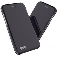 Луксозен кожен калъф Flip тефтер със стойка OPEN за Apple iPhone XR - черен / гланц