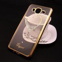Луксозен силиконов калъф / гръб / TPU / Elegant с камъни за Samsung Galaxy J5 J500 - прозрачен със златист кант / сърце