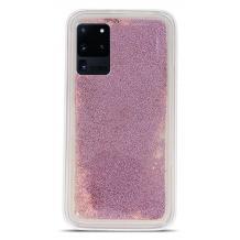 Луксозен твърд гръб 3D Water Case за Samsung Galaxy S20 Ultra - прозрачен / течен гръб с брокат / розов / перли