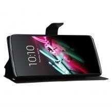 Кожен калъф Flip тефтер Flexi със стойка за Huawei Y5 2019 - черен