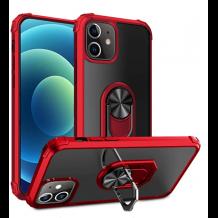Удароустойчив гръб със стойка и магнитно захващане за Apple iPhone 12 / 12 Pro 6.1'' – прозрачен / червен кант