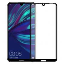 3D full cover Tempered glass screen protector Huawei Y6 2019 / Извит стъклен скрийн протектор Huawei Y6 2019 - черен
