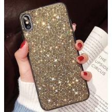 Луксозен силиконов гръб с камъни за Samsung Galaxy Note 10 Plus N975 - златист