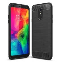 Силиконов калъф / гръб / TPU за LG Q7 - черен / carbon