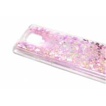 Луксозен гръб 3D Water Case за Motorola Moto E7 Plus - прозрачен / течен гръб с розов брокат / сърца