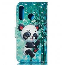Кожен калъф Flip тефтер Flexi със стойка за Xiaomi Redmi Note 8T - зелен / Bamboo Panda