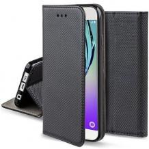 Кожен калъф Magnet Case със стойка за Motorola Moto G8 Plus - черен