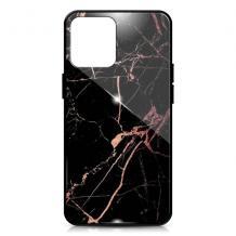 """Луксозен гръб за Apple iPhone 12 mini 5.4"""" - мрамор / черен с розово"""