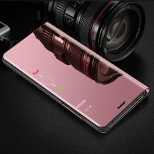 Луксозен калъф Clear View Cover с твърд гръб за Huawei Y5 2019 - Rose Gold