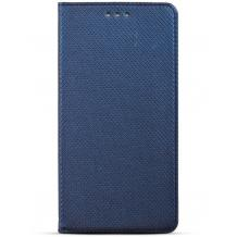 Кожен калъф Magnet Case със стойка за Nokia 7.1 2018 - тъмно син