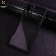 Луксозен твърд гръб Hybrid със силиконов кант за Samsung Galaxy A71 - прозрачен / черен кант