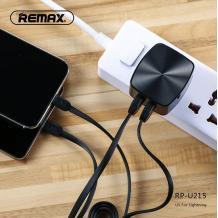 Универсално зарядно устройство REMAX RP-U215 220V с 2 USB порта 2.4A и Micro USB кабел / Type-C/ за Samsung , LG , HTC , Sony, Nokia, Huawei , ZTE, BlackBerry и др. - черен