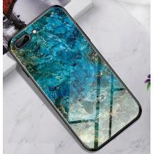 Луксозен стъклен твърд гръб за Apple iPhone 7 Plus / iPhone 8 Plus - син
