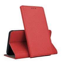 Кожен калъф Magnet Case със стойка за Samsung Galaxy A71 - червен