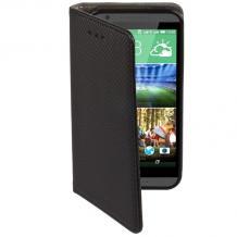 Кожен калъф Magnet Case със стойка за HTC Desire 628 - черен