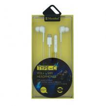 Стерео слушалки Mosidun Type-C / handsfree / 3.5mm за смартфон - бели