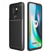 Луксозен силиконов калъф / гръб / TPU Auto Focus за Motorola Moto G9 Play - черен / Carbon