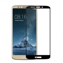 3D full cover Tempered glass Full Glue screen protector Motorola Moto E5 Plus / Извит стъклен скрийн протектор с лепило от вътрешната страна за Motorola Moto E5 Plus - черен