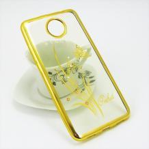 Луксозен силиконов калъф / гръб / TPU / Elegant с камъни за Lenovo Moto C - прозрачен със златист кант / цвете / пеперуда