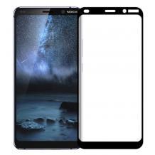 3D full cover Tempered glass Full Glue screen protector Nokia 9 Pure View / Извит стъклен скрийн протектор с лепило от вътрешната страна за Nokia 9 Pure View - черен
