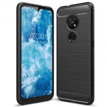 Силиконов калъф / гръб / TPU за Nokia 7.2 - черен / carbon
