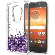 Луксозен твърд гръб 3D Water Case за Nokia 5.3 - прозрачен / течен гръб с брокат / сърца / лилав