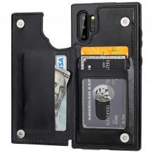 Луксозен кожен гръб с магнитно закопчаване за Samsung Galaxy Note 10 Plus N975 - черен / слот за карти