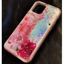 Луксозен гръб 3D Water Case за Apple iPhone 12 /12 Pro 6.1'' - течен гръб с брокат / огледален с розови цветя