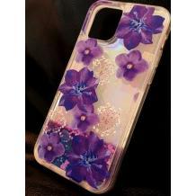 Луксозен гръб 3D Water Case за Apple iPhone 12 /12 Pro 6.1'' - течен гръб с брокат / огледален с лилави цветя