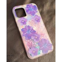 """Луксозен гръб 3D Water Case за Apple iPhone 12 Pro Max 6.7"""" - течен гръб с брокат / огледален с лилави цветя"""