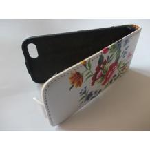 Кожен калъф Flip тефтер за Apple iPhone 5 / iPhone 5S - бял на цветя / гравирана кожа