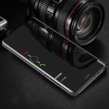 Луксозен калъф Clear View Cover с твърд гръб за Huawei Y5 2019 - черен