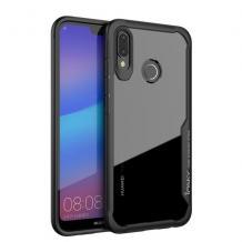 Луксозен твърд гръб IPAKY за Huawei P30 Lite - прозрачен / силиконов черен кант