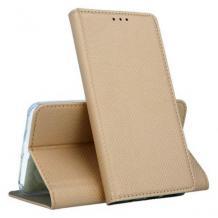 Кожен калъф Magnet Case със стойка за Motorola Moto G8 Power Lite – златист