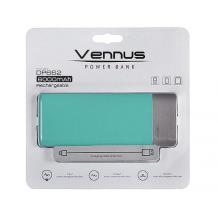 Универсална външна батерия Vennus / Universal Power Bank Vennus / Micro USB Data Cable 6000mAh - мента със сиво
