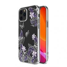Луксозен твърд гръб KINGXBAR Swarovski Diamond за Apple iPhone 12 /12 Pro 6.1'' - прозрачен със сребрист кант / пеперуди