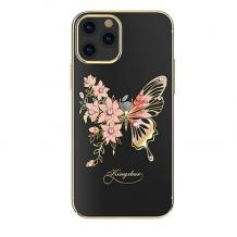 Луксозен твърд гръб KINGXBAR Swarovski Diamond за Apple iPhone 12 /12 Pro 6.1'' - прозрачен със златист кант / розова пеперуда
