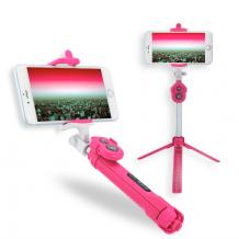 Селфи Стик Tripod със Bluetooth / Bluetooth Tripod Selfie Stick - розов