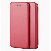 Луксозен кожен калъф Flip тефтер със стойка OPEN за Huawei Y7 2019 - тъмно червено