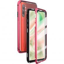 Магнитен калъф Bumper Case 360° FULL за Samsung Galaxy Note 10 Plus N975 - прозрачен / червена рамка
