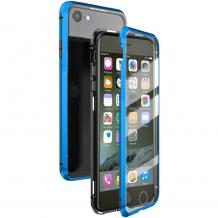 Магнитен калъф Bumper Case 360° FULL за Apple iPhone 6 Plus / iPhone 6S Plus - прозрачен / синя рамка