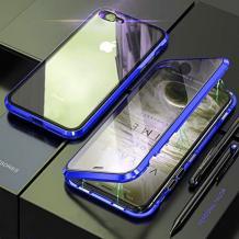 Магнитен калъф Bumper Case 360° FULL за Apple iPhone 7 Plus / iPhone 8 Plus - прозрачен / синя рамка