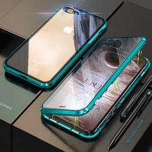 Магнитен калъф Bumper Case 360° FULL за Apple iPhone 7 Plus / iPhone 8 Plus - прозрачен / зелена рамка