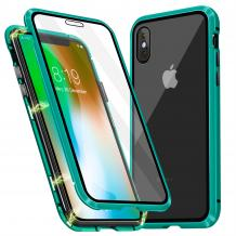 Магнитен калъф Bumper Case 360° FULL за Apple iPhone X / iPhone XS - прозрачен / зелена рамка