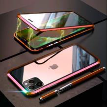 Магнитен калъф Bumper Case 360° FULL за Apple iPhone 11 Pro Max 6.5'' - прозрачен / червена рамка