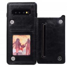 Луксозен кожен гръб с магнитно закопчаване за Samsung Galaxy S10 Plus - черен / слот за карти