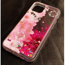 Луксозен гръб 3D Water Case за Apple iPhone 12 /12 Pro 6.1'' - течен гръб с брокат / прозрачен с розови цветя