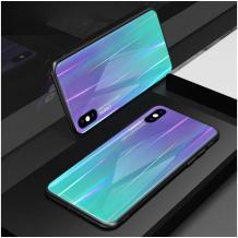 Луксозен стъклен твърд гръб Aurora за Samsung Galaxy A10 - преливащ / лилав
